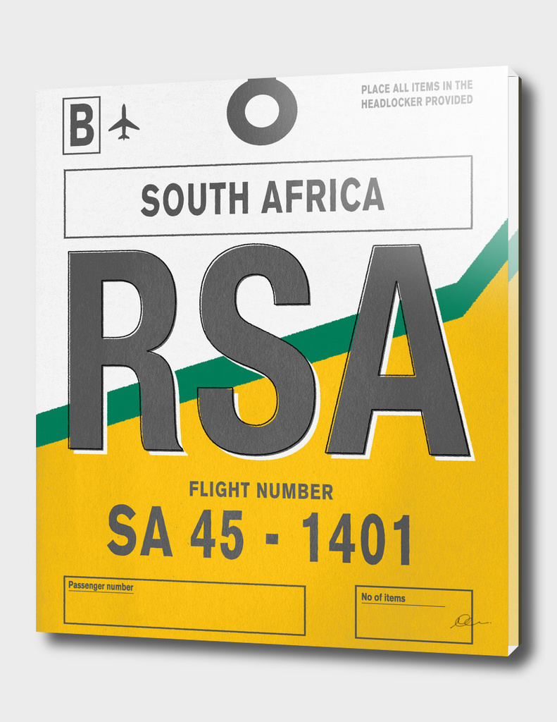 South Africa Vintage Luggage Tag Print