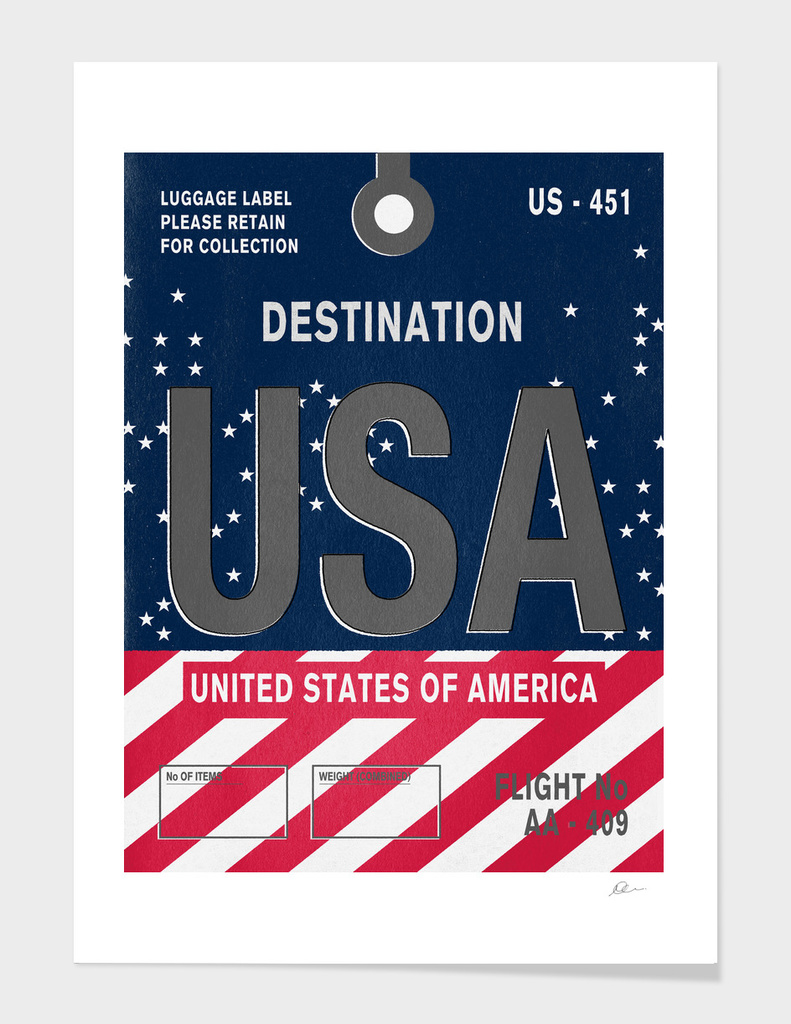 USA Vintage Luggage Tag Print