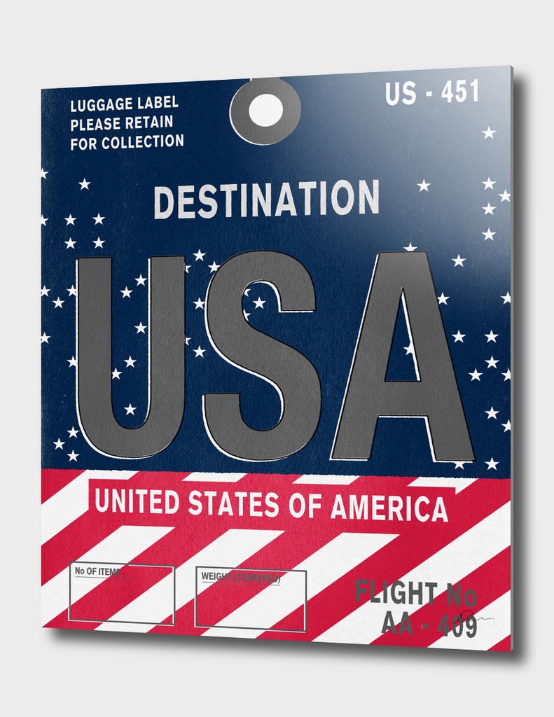 USA Vintage Luggage Tag Print