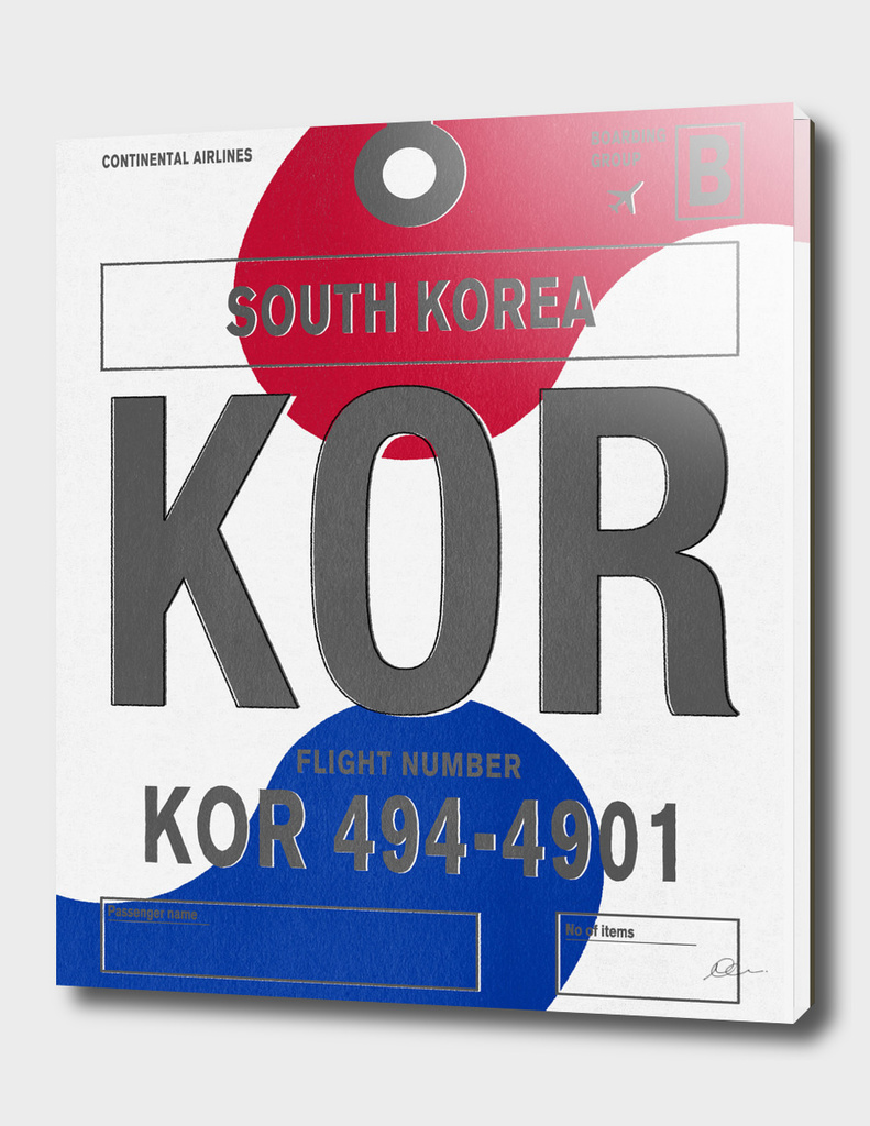 South Korea Vintage Luggage Tag Print