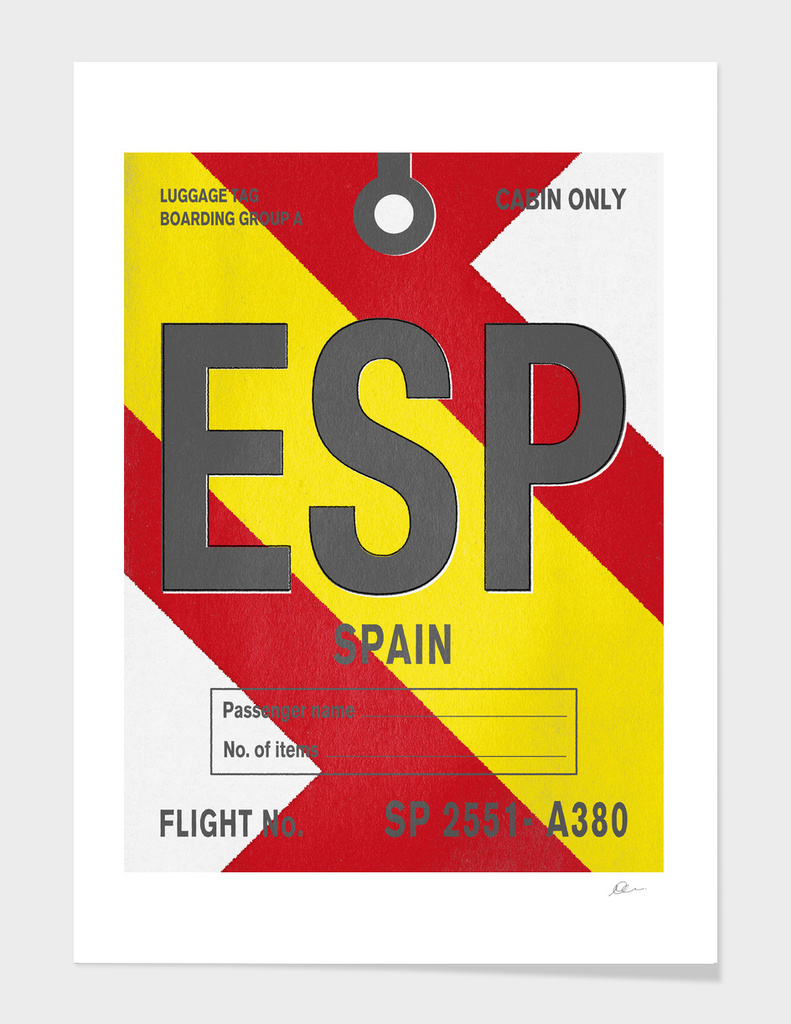 Spain Vintage Luggage Tag Print