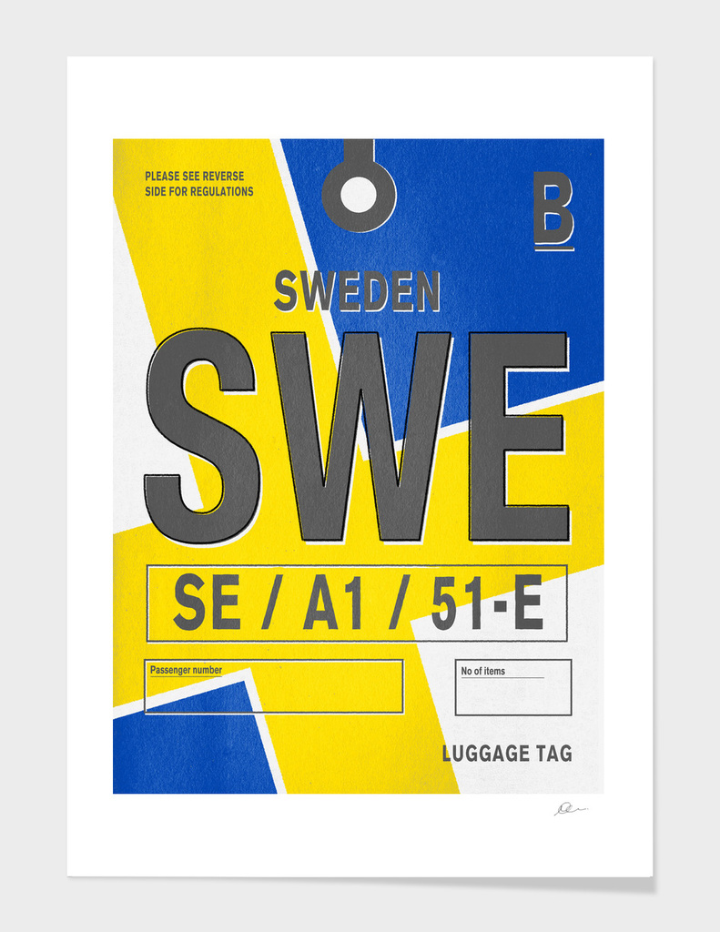 Sweden Luggage Tag Print