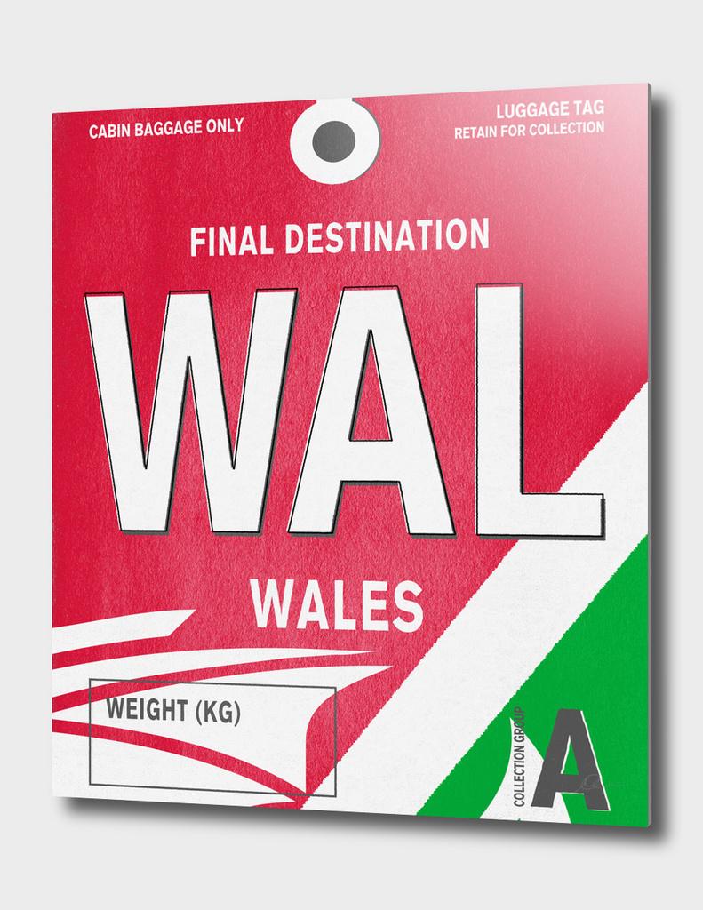 Wales Vintage Luggage Tag Print