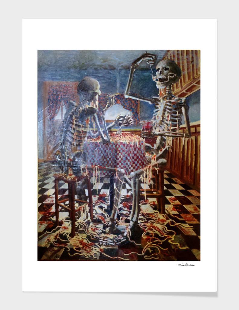 Skeletons Eating Spaghetti