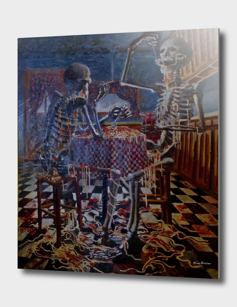 Skeletons Eating Spaghetti