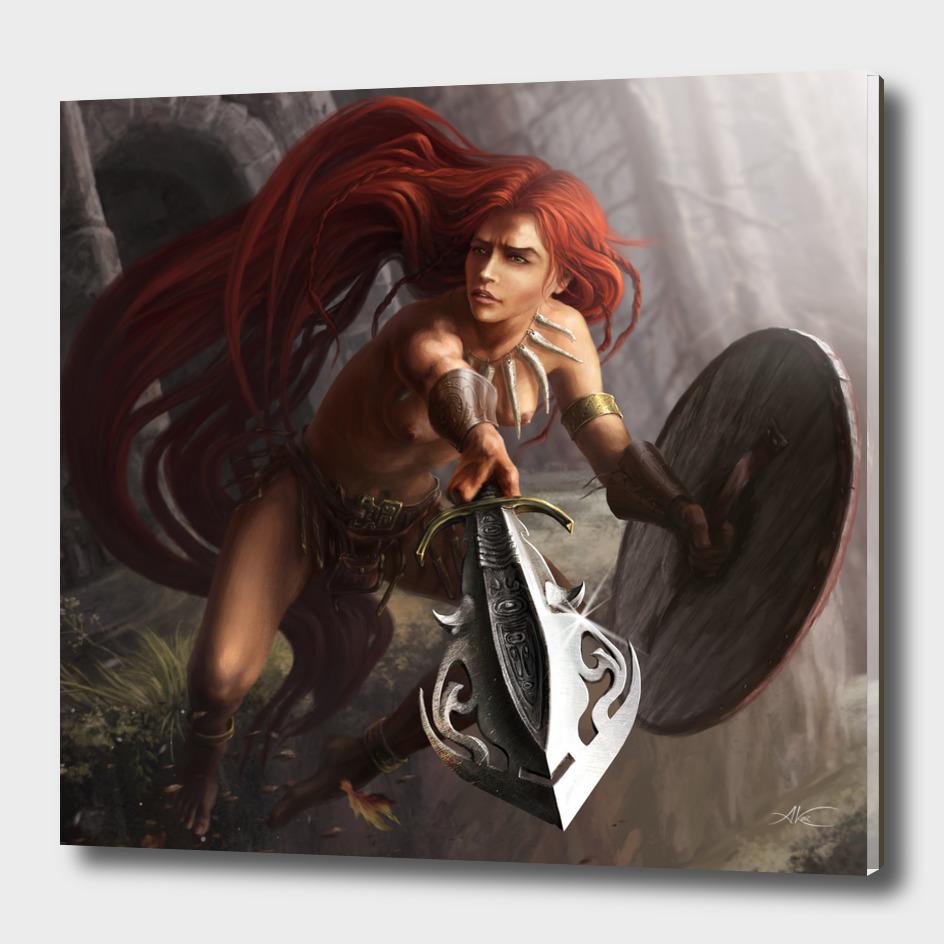 Redhead warrior girl