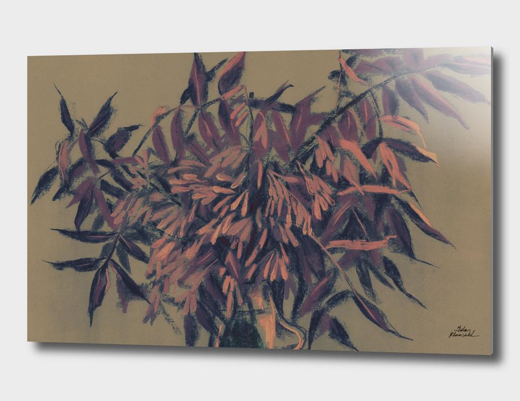 Ash-tree, vintage colors, summer foliage, floral art