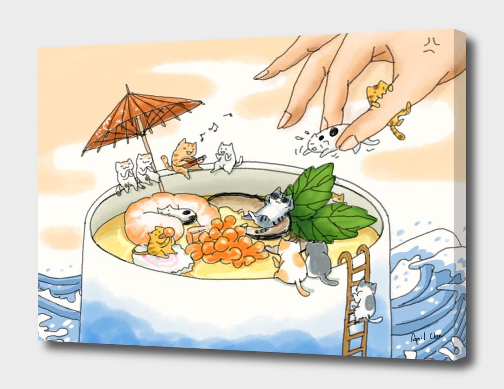 Kittens and Japanese Steam Egg