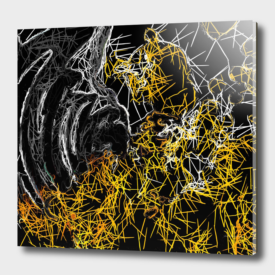 psychedelic sketching geometric abstract in yellow and black