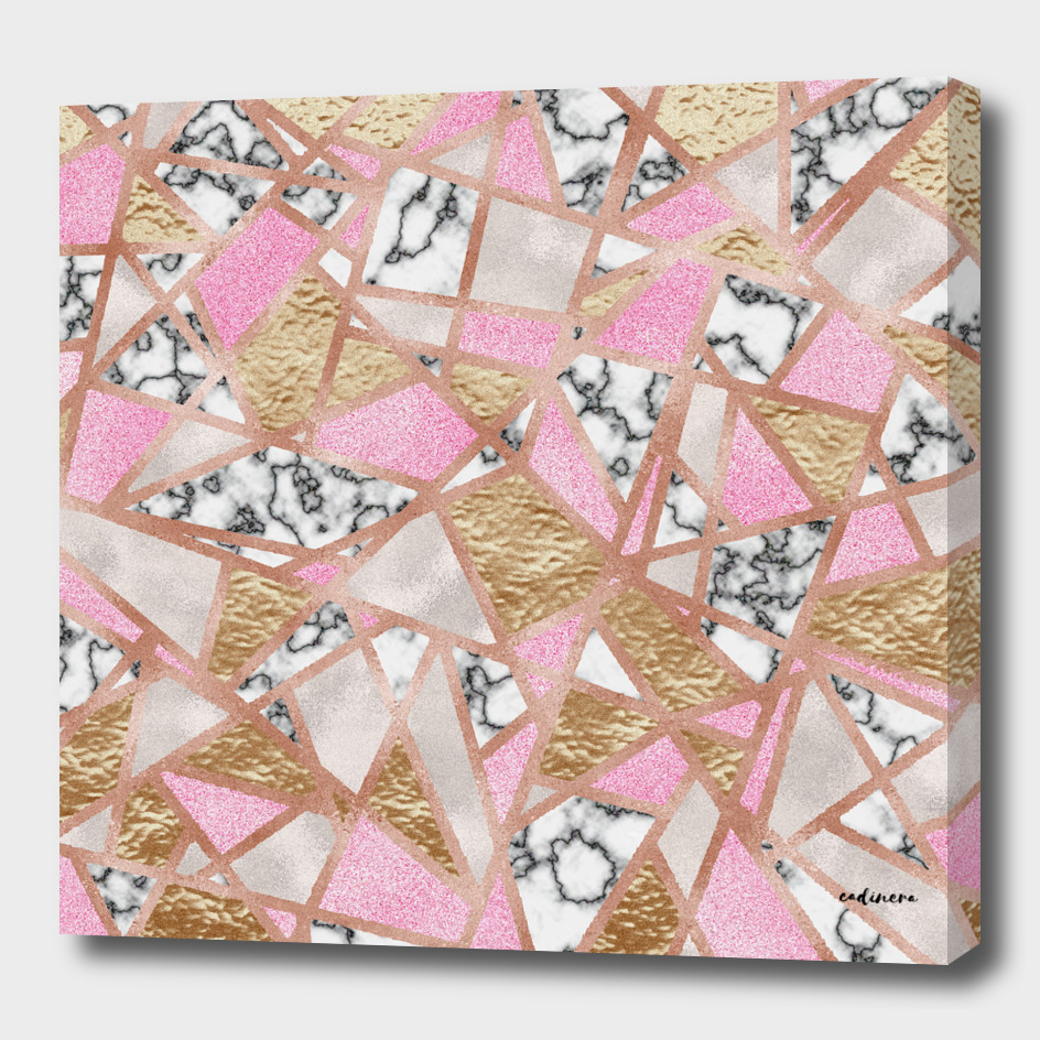 Geometric Collage - Marble, Pink, Pearl and Gold