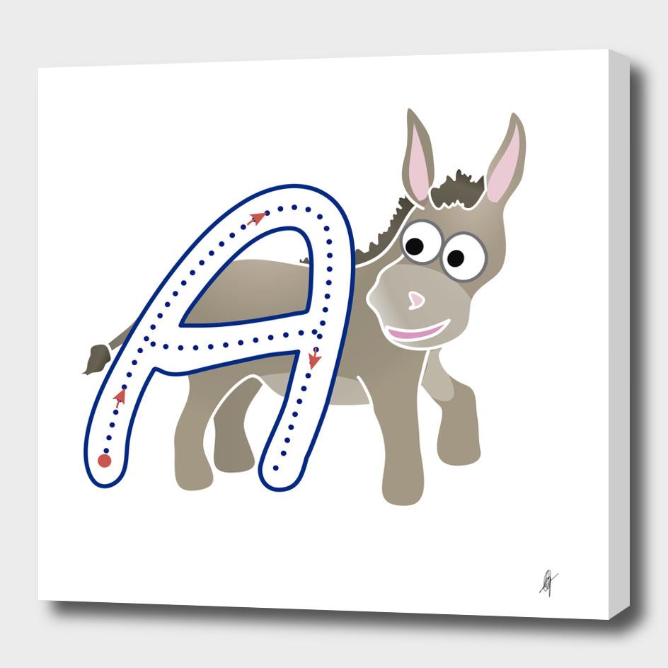 Abecedario animal , letra A: Asno