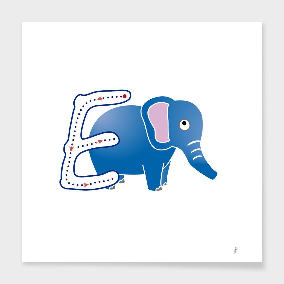 Animal alphabet, letter E: Elefante
