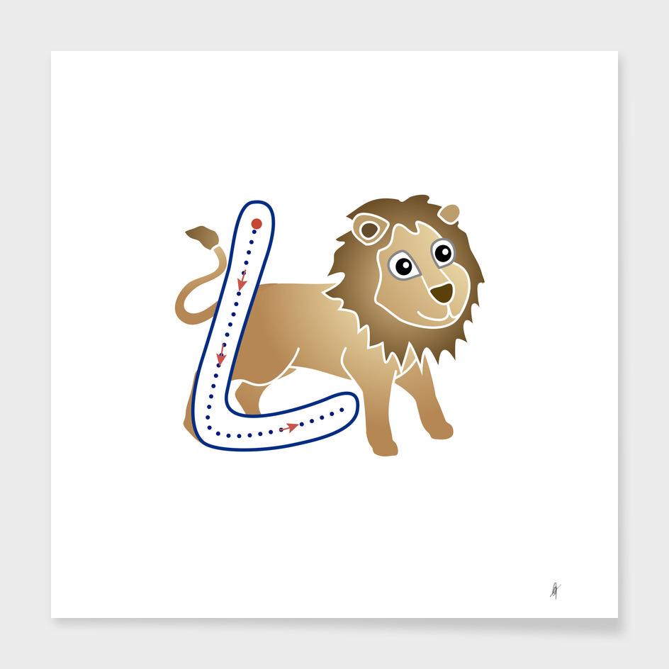 Animal alphabet, letter L: León