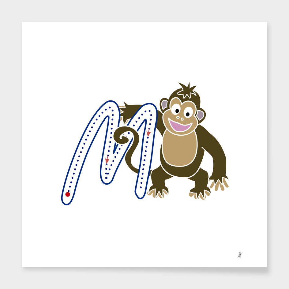 Animal alphabet, letter M: monkey