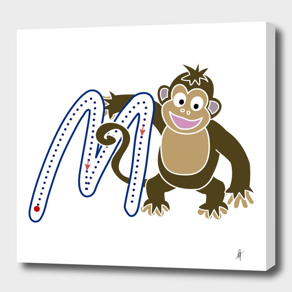 Animal alphabet, letter M: monkey