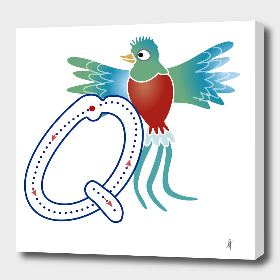 Animal alphabet, letter Q: Quetzal