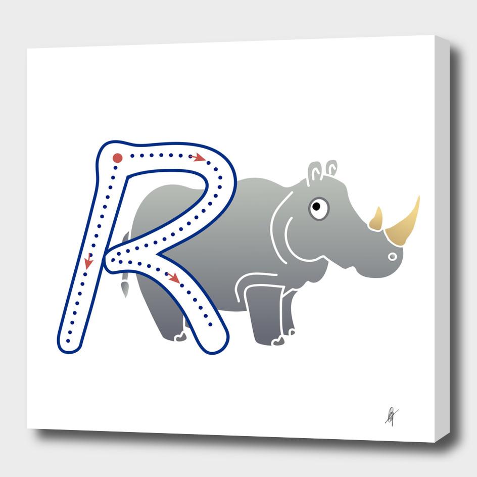 Animal alphabet, letter R: Rino