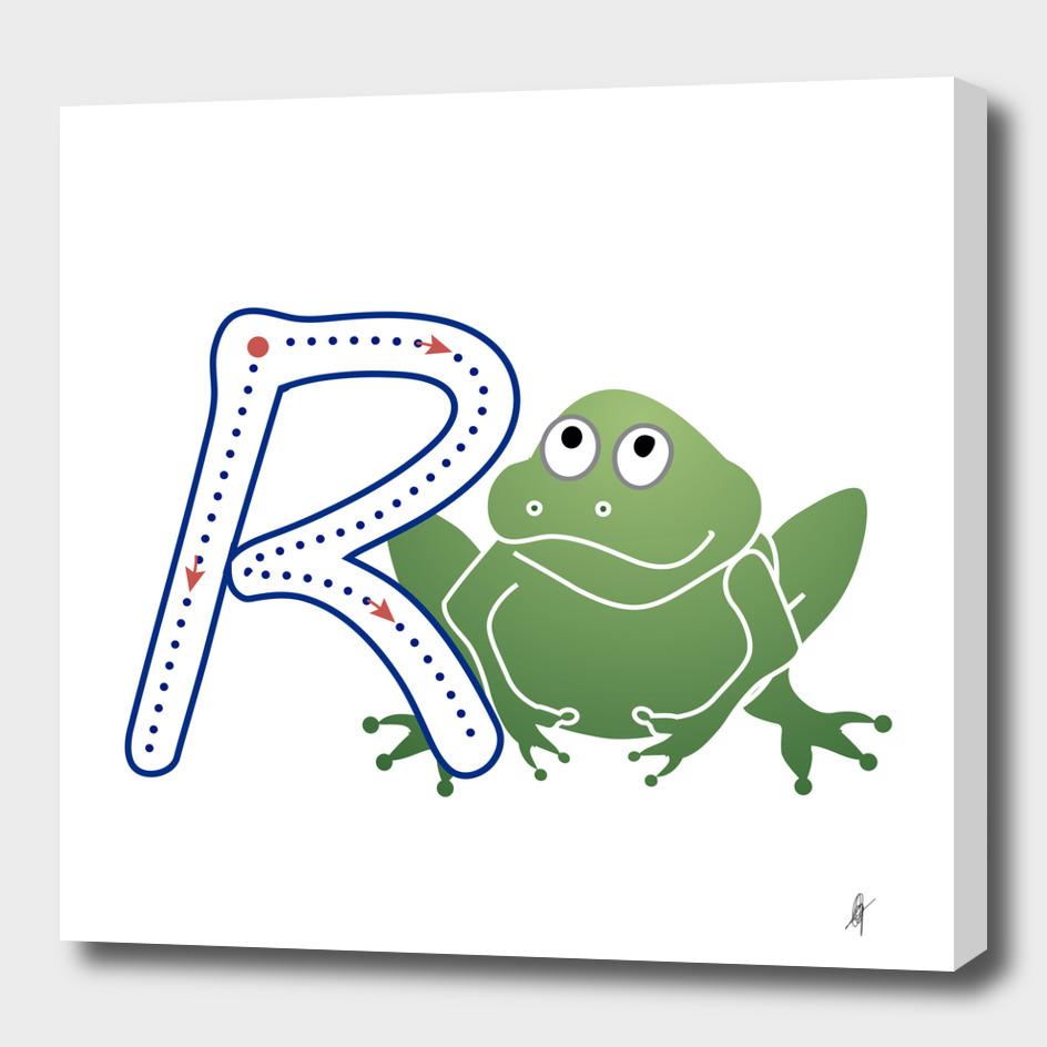 Abecedario animal , letra R: Rana / Frog
