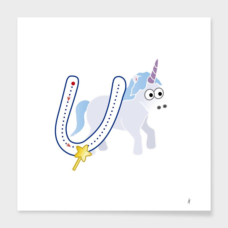 Animal alphabet, letter U: Unicornio