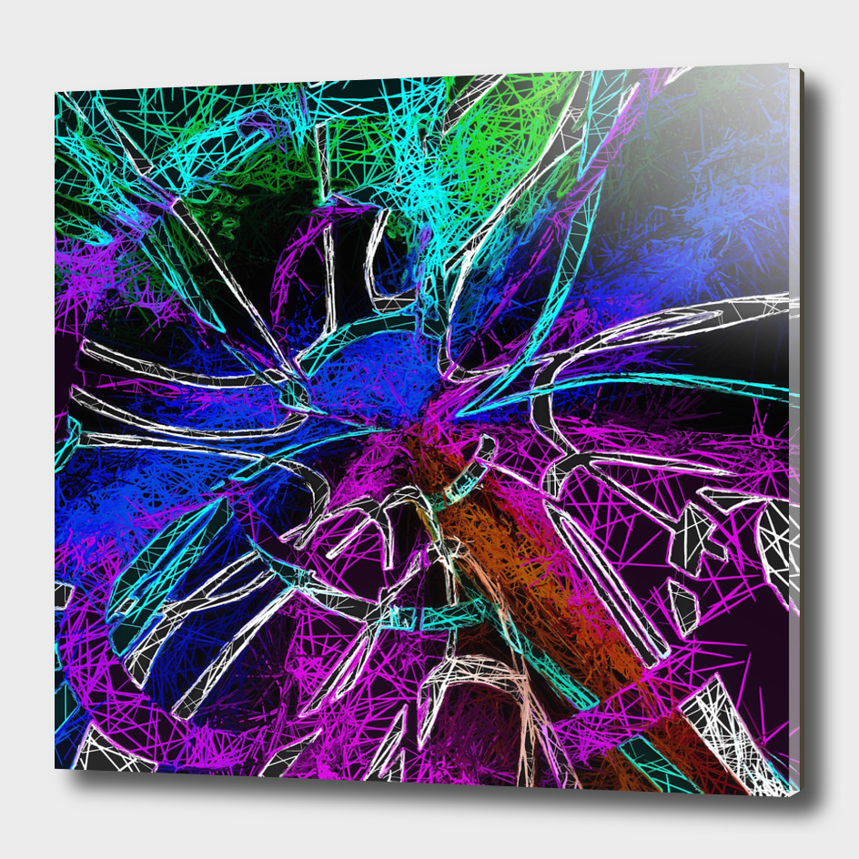 psychedelic geometric painting abstract in pink purple blue