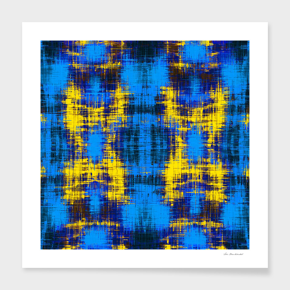 geometric plaid pattern painting abstract in blue yellow