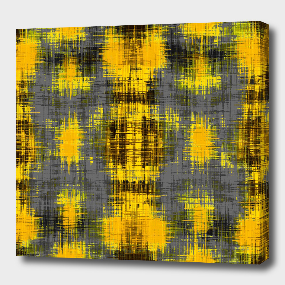 geometric pattern painting abstract in yellow and black