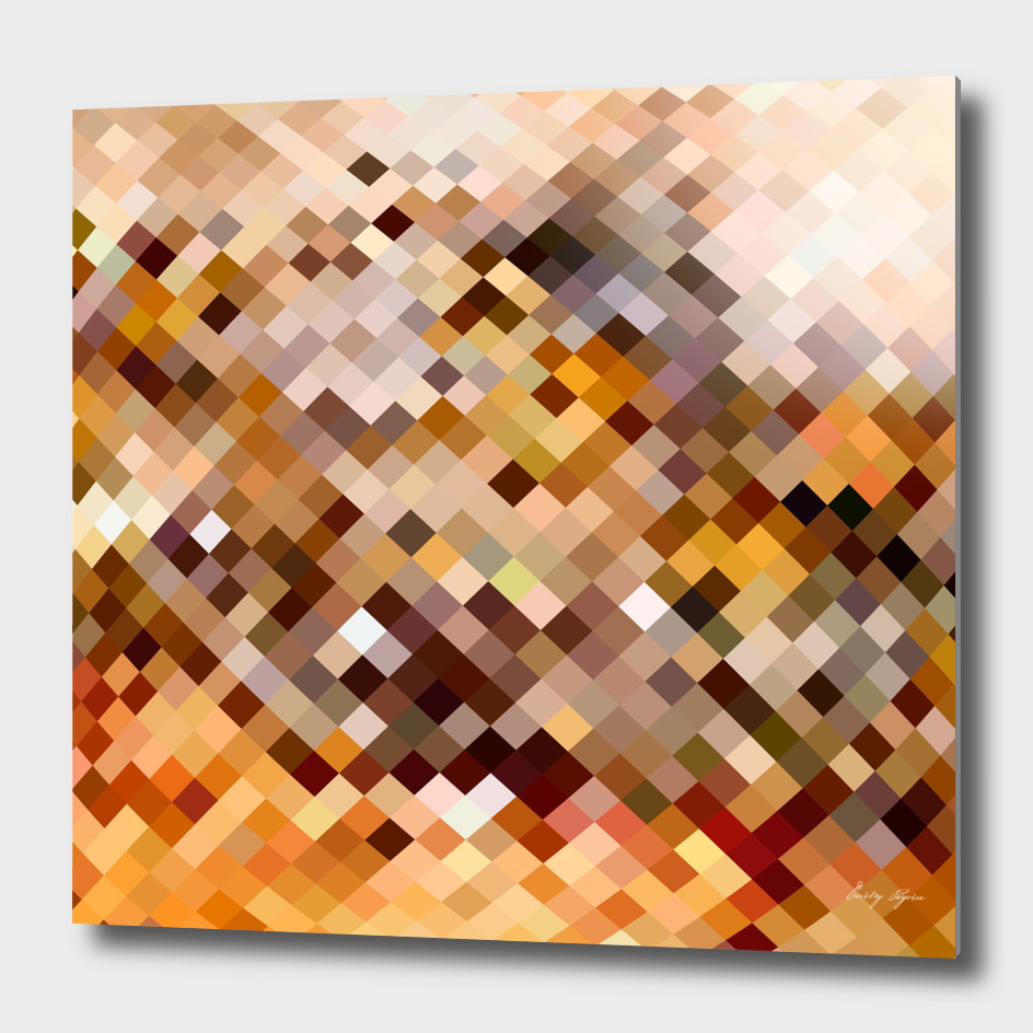 Abstract mosaic background made of squares with brown