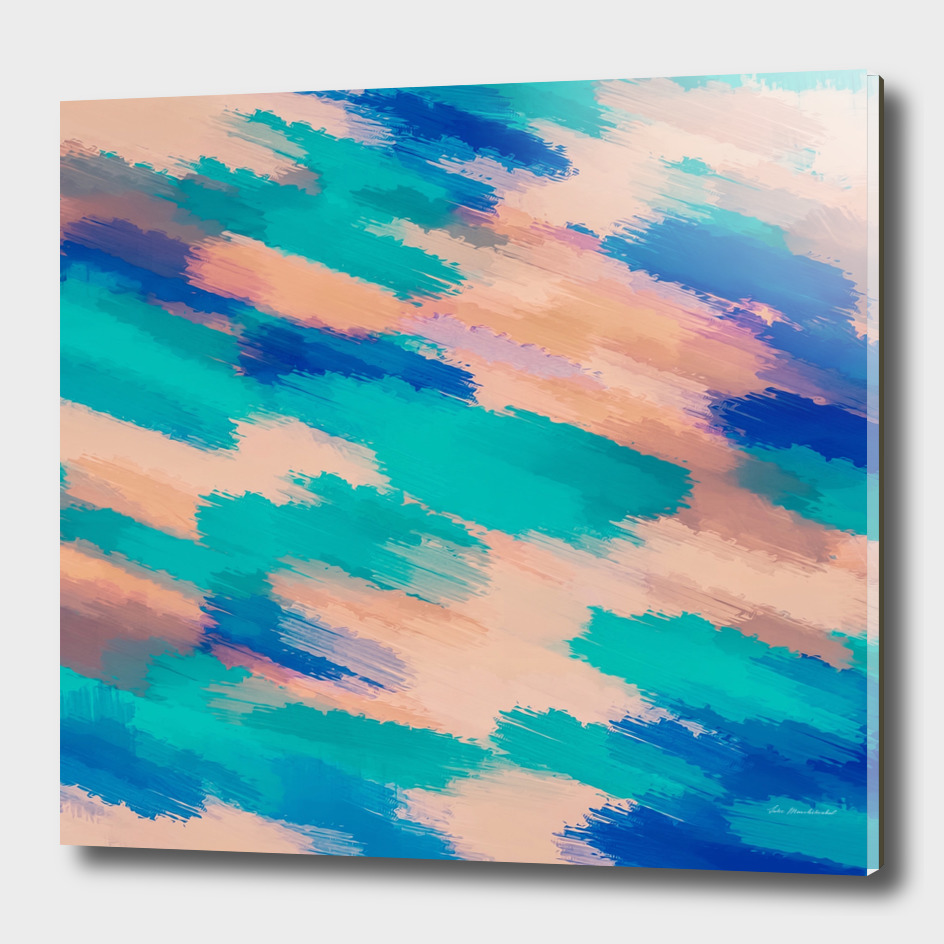 watercolor camouflage painting in blue green and pink