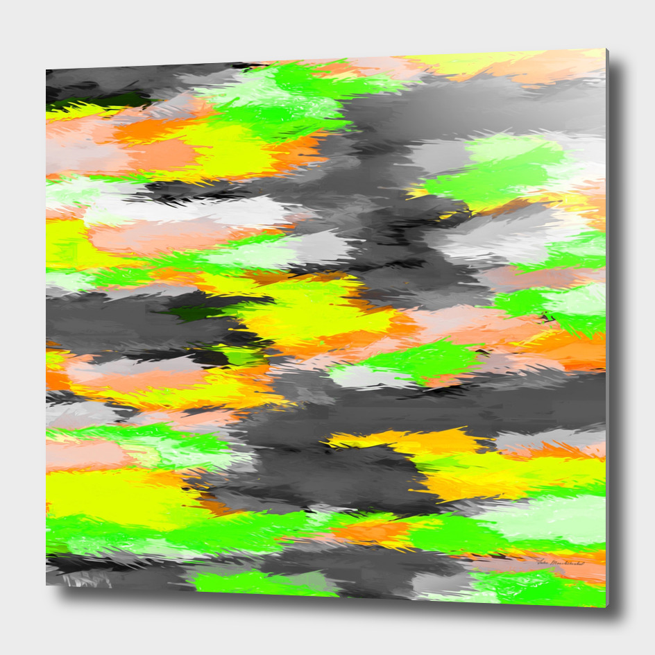 watercolor camouflage painting abstract in green orange