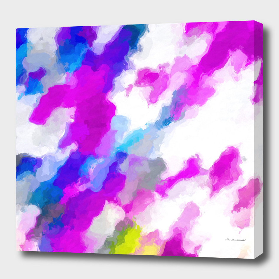 psychedelic watercolor painting abstract in pink and blue