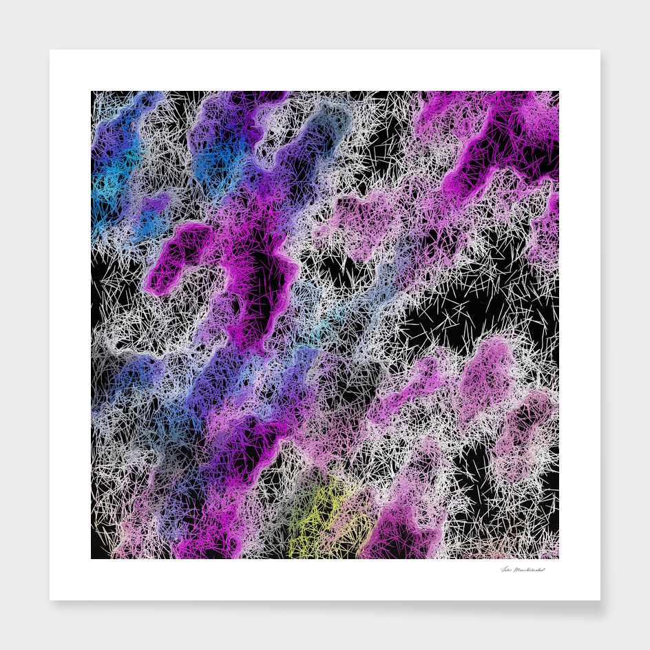 psychedelic geometric abstract in pink purple blue and black