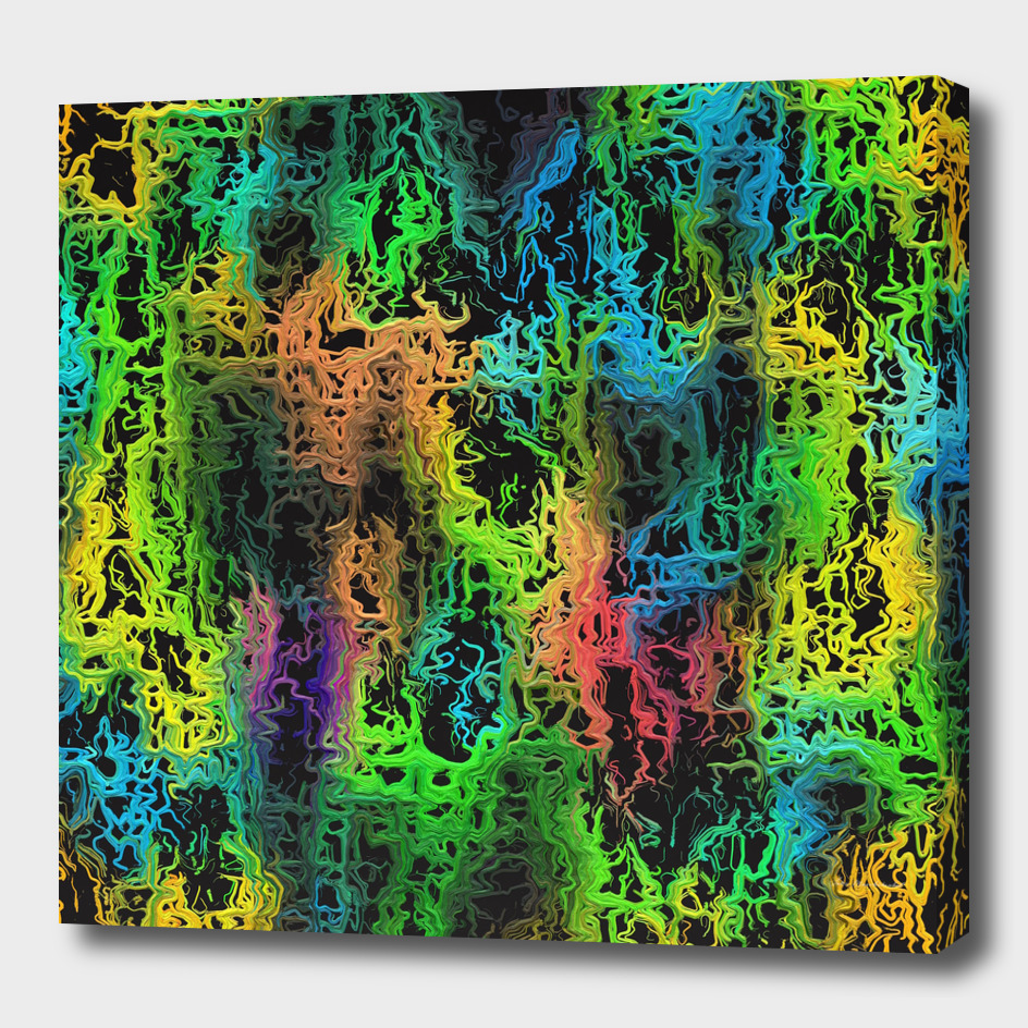 psychedelic geometric abstract in green blue yellow pink