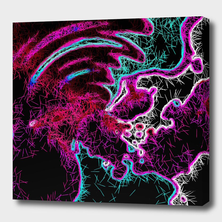 psychedelic fractal geometric abstract in pink purple blue