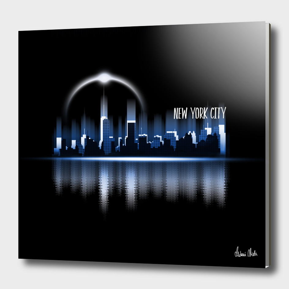 Graphic Art | A Dream of New York City in blue
