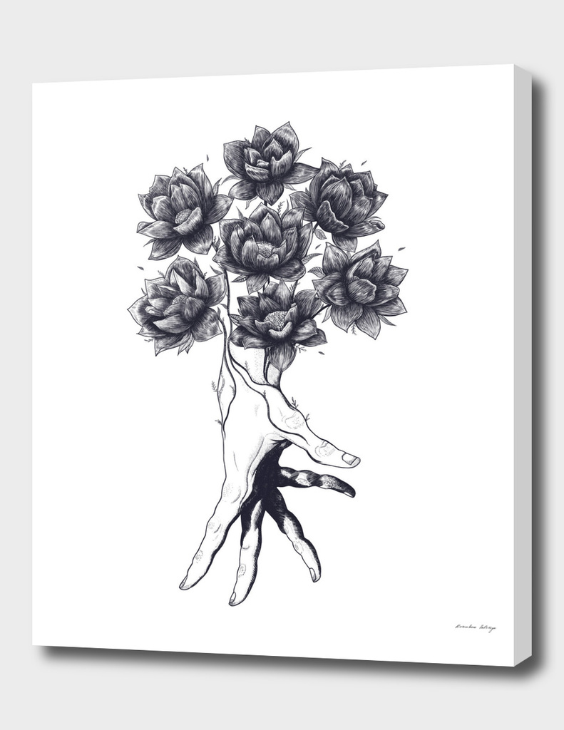 Hand with lotuses