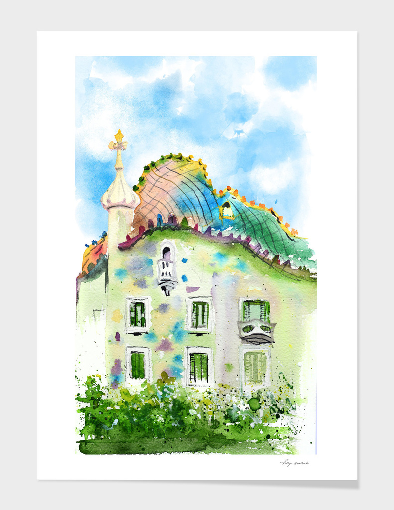 Barcelona watercolor. Gaudi architecture