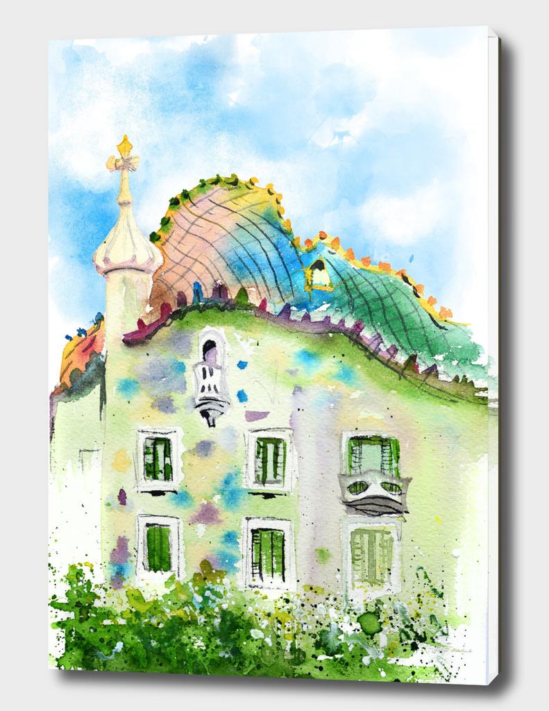 Barcelona watercolor. Gaudi architecture