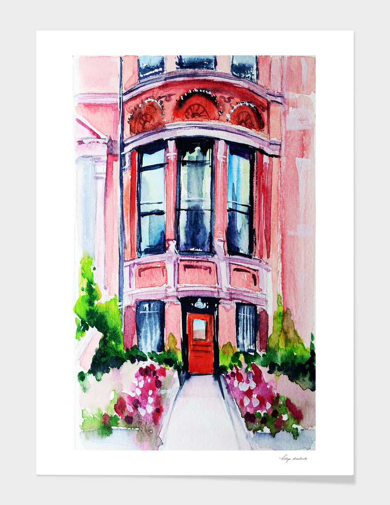 Boston Massachusetts city watercolor