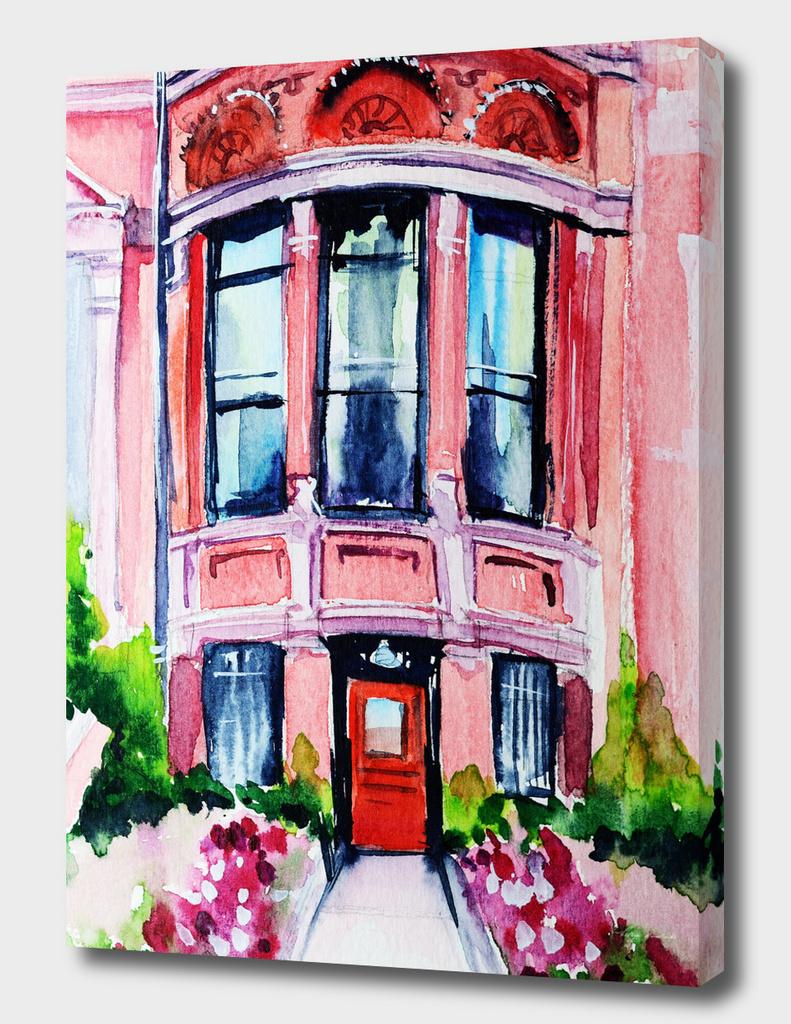 Boston Massachusetts city watercolor