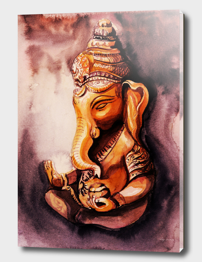 Ganesha watercolor. Meditation concept.