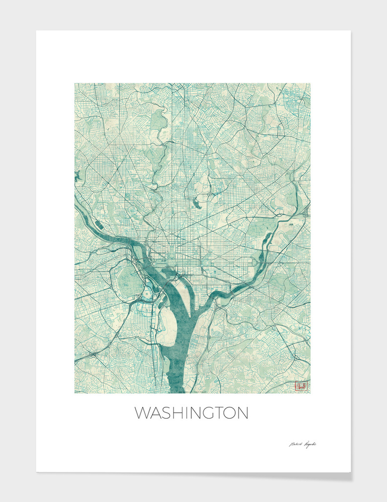 Washington Map Blue