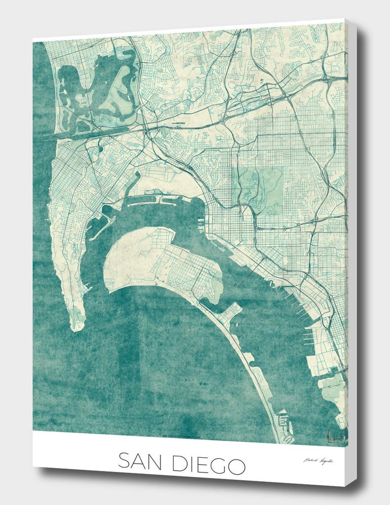 San Diego Map Blue