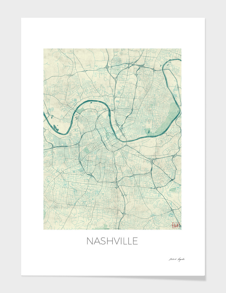 Nashville Map Blue