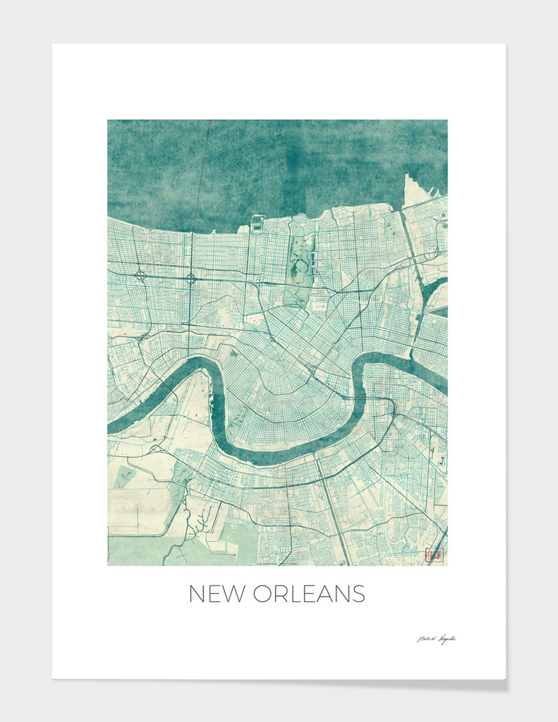 New Orleans Map Blue