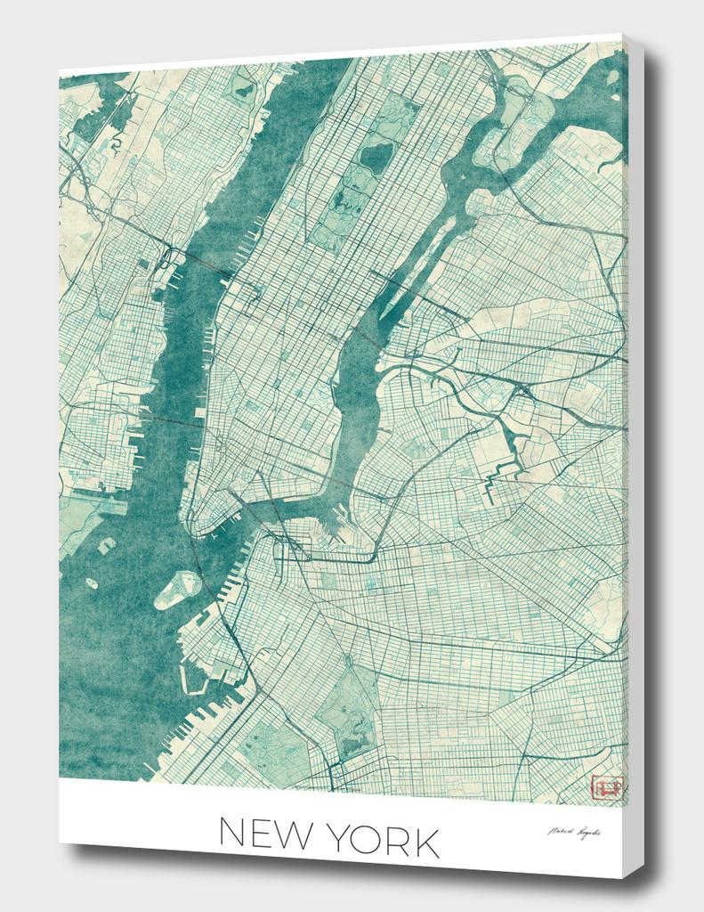 New York Map Blue
