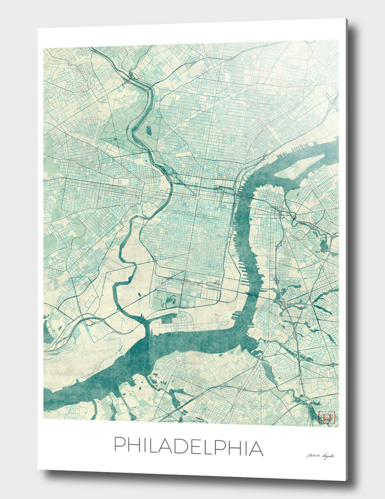 Philadelphia Map Blue