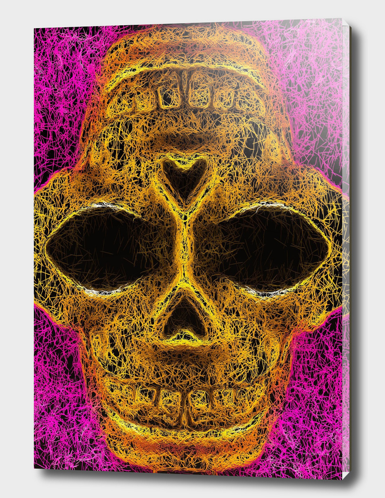 psychedelic geometric painting golden skull head portrait