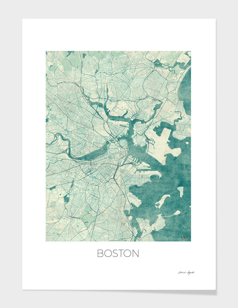 Boston Map Blue