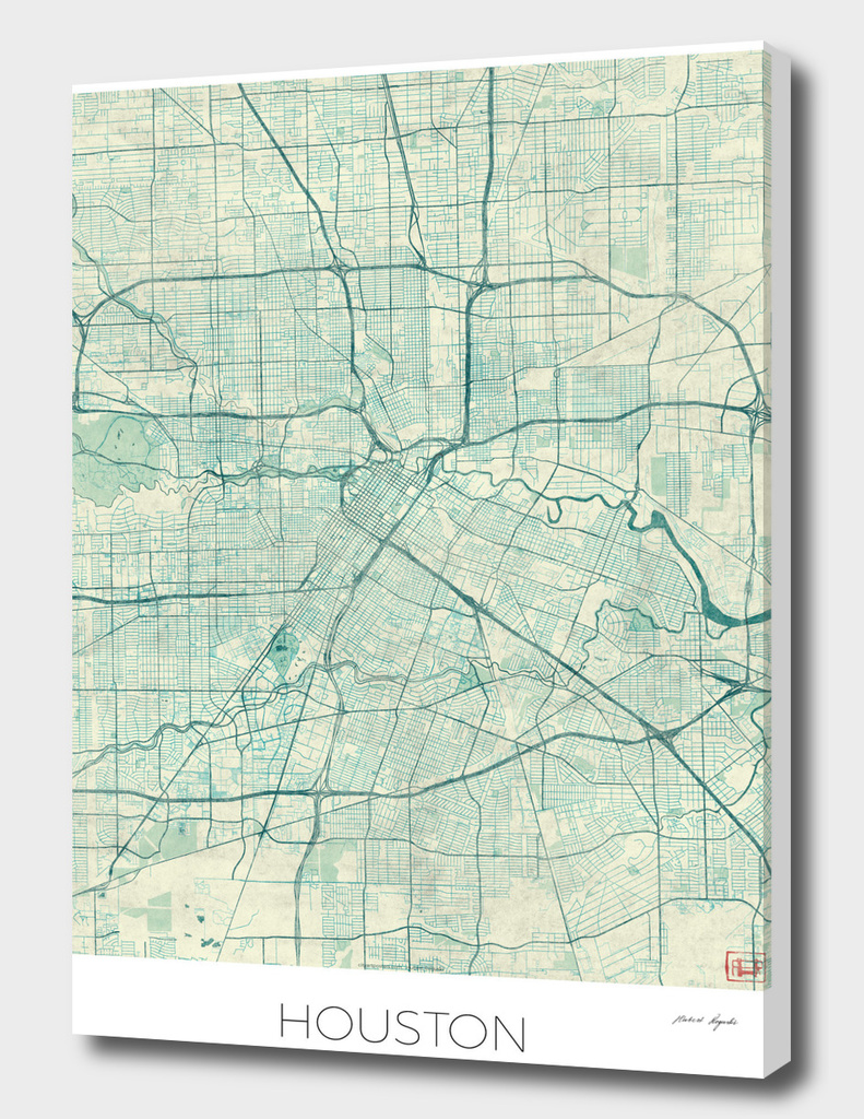 Houston Map Blue
