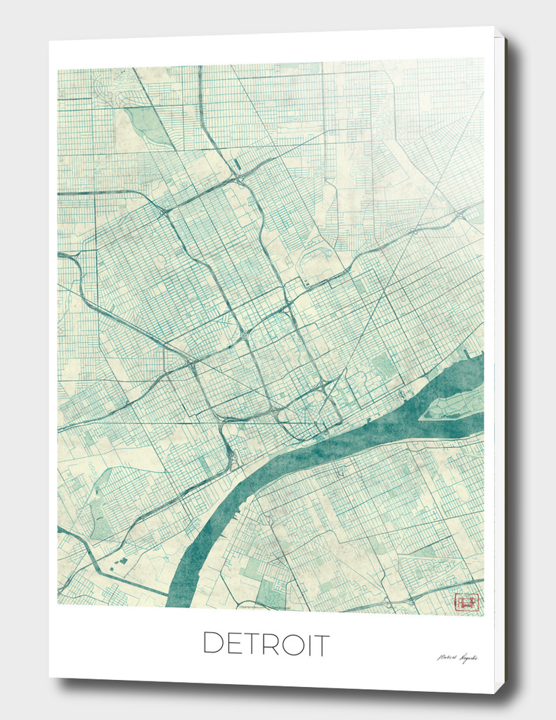 Detroit Map Blue